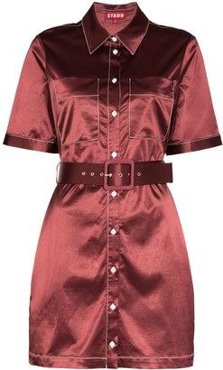 STAUD Bentley belted shirt dress