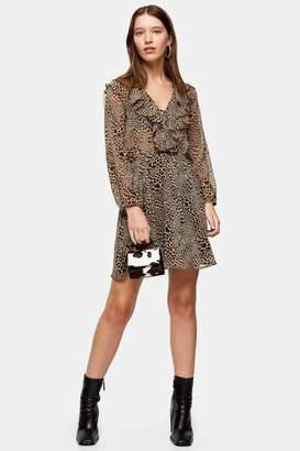 Topshop Womens Tan Heart Animal Print Ruffle Mini Dress - Tan