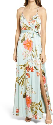Lulus Still the One Floral Faux Wrap Gown