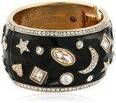 Kenneth Jay Lane Gold, Black Enamel and Crystal Accents Celestial Cuff Bracelet