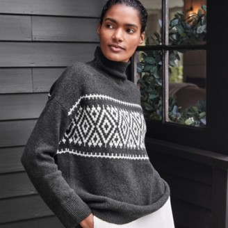The White Company Boucle Fair Isle Jumper with Cotton , Dark Charcoal Marl, Extra Small