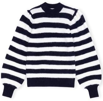 Ganni Stripe Wool Sweater in Sky Captain