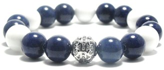 AALILLY Women's 10mm White and Dark Blue Natural Beads Stretch Bracelet