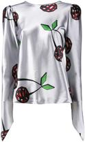 Natasha Zinko cherry print satin blouse - women - Polyester/Spandex/Elastane - 34