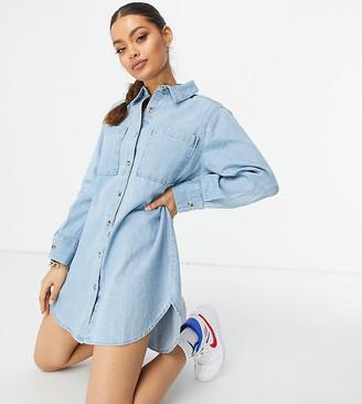 ASOS DESIGN Petite denim oversized shirt dress in midwash blue