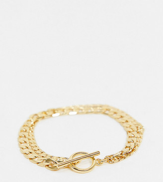 Orelia multi-row chain bracelet in gold plate