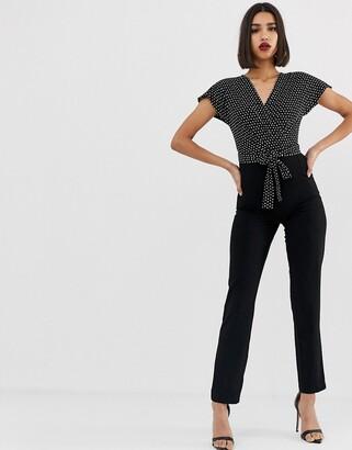 Morgan 2 in 1 wrap front jumpsuit in polka black