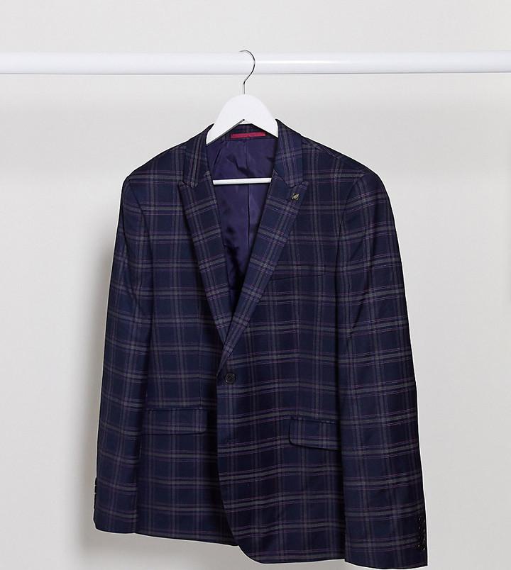 Thumbnail for your product : Burton Menswear Big & Tall skinny suit jacket in navy tartan