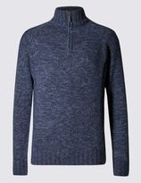 Marks and Spencer Half Zip Neck Textured Jumper with Wool