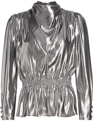 Gucci Silk Lame Cowl Front Peplum Top