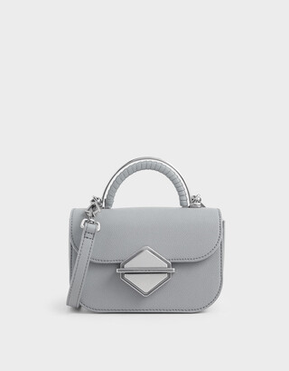 Charles & Keith Metallic Accent Mini Top Handle Bag