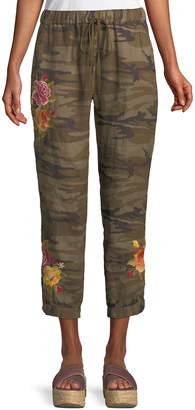 Johnny Was Petite Vella Embroidered Linen Jogger Pants