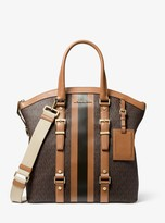 MICHAEL Michael Kors Bedford Travel Large Logo Stripe Dome Tote Bag