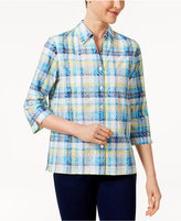 Alfred Dunner Scenic Route Plaid Burnout Shirt