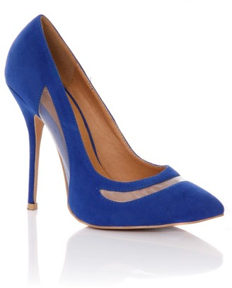 Linzi Paper Dolls Footwear Blue Pointed Mesh Cut Out Court Shoes