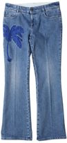 Stella McCartney Blue Cotton Skinny Jeans With Embroidery Palm