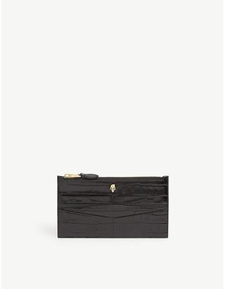 Alexander McQueen Zip billfold crocodile-embossed leather wallet