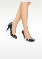 Mario Bologna Open Toe Gray Croco Patent Leather Pump Shoes