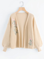 Shein Bishop Sleeve Botanical Embroidered Cardigan