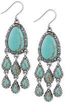 Lucky Brand Silver-Tone Blue Stone Chandelier Earrings