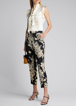 Etro Floating Flowers Printed Cady Trousers