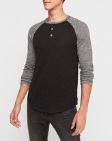 Express Marled Loose Knit Henley