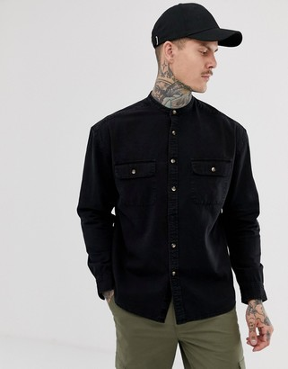 Asos DESIGN oversized denim shirt in black with grandad collar and mock horn buttons