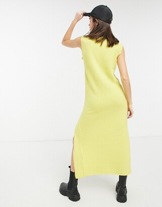 Lost Ink sleeveless maxi knitted dress in yellow rib
