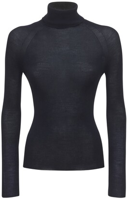 Silk & Wool Knit Turtleneck Sweater
