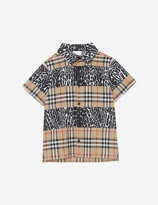 Burberry Ascot checked leopard-print cotton shirt 3-14 years