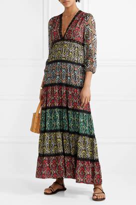 Alice + Olivia Alice Olivia - Karolina Crochet-trimmed Printed Crepe And Plisse-chiffon Maxi Dress - Black