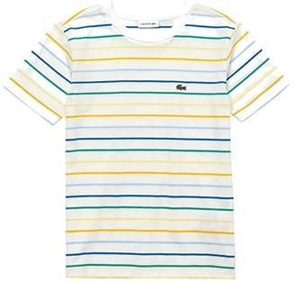 Lacoste Kids Short Sleeve Fine Stripes Tee (Toddler/Little Kids/Big Kids) (Flour/Multicolor) Boy's Clothing