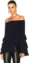 Norma Kamali Ruffle Off Shoulder Top