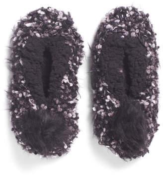 Chunky Knit Pompom Slippers