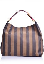 Fendi Pequin Stripe Hobo Bag Tobacco and Red Leather 8BR653