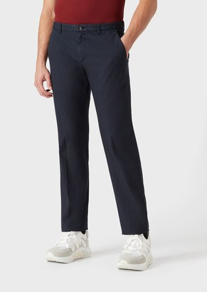 Giorgio Armani Trousers In Yarn-Dyed Stretch Cotton With A Centre Crease