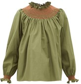 Loretta Caponi - Maria Smocked Cotton-poplin Blouse - Womens - Khaki Multi
