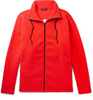 Balenciaga Oversized Logo-Embroidered Fleece Zip-Up Sweater