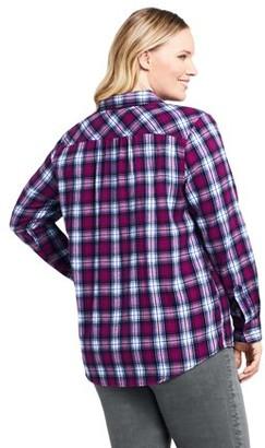 Lands' End Women's Plus Size Long Sleeve Flannel Button Down Shirt