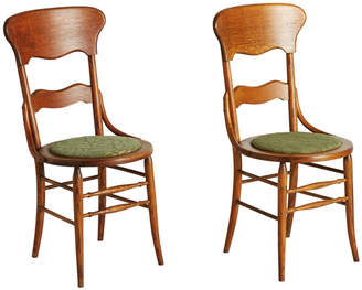 Rejuvenation Pair of Oak Side Chairs w/ Green Upholstery