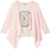 Speechless Rose & White Geometric Tee & Drape Cardigan Set - Girls