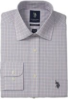 U.S. Polo Assn. Men's Plaid Tattersal Semi Spread Collar Dress Shirt