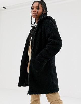 Noisy May chunky teddy zip through jacket in black