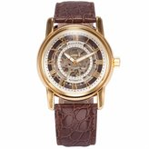 K&S MIX & ROCK KS Men's Analog Automatic Mechanical Skeleton Dial Brown Leather Band Wrist Watch
