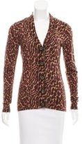 Tory Burch Wool Leopard Print Cardigan