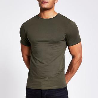 River Island Khaki short sleeve muscle fit T-shirt