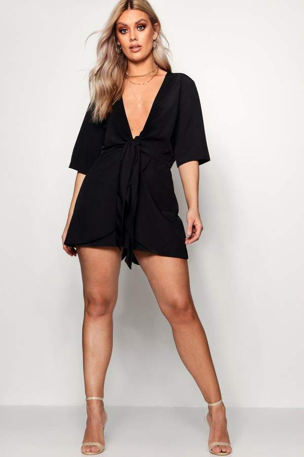 boohoo Plus Knot Front Plunge Playsuit