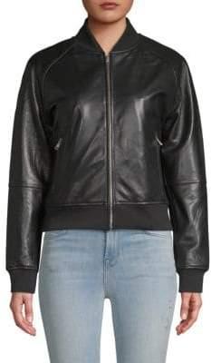 William Rast Genuine Leather Bomber Jacket