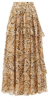 Etro Breton Floral-print Tiered Silk-blend Maxi Skirt - Yellow Multi