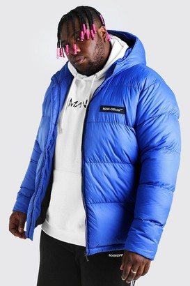 boohoo Mens Blue Big & Tall MAN Branded Hand Filled Puffer, Blue